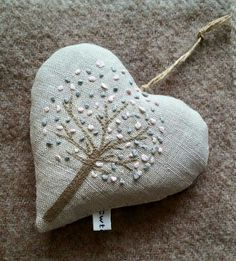 Just love this. Knew it would look fab. :-) Peony and Sage The Embroidered French Orchard organic lavender heart.  The blossoms are soft pink and blue.Hand sewn by Cwtches. This design is hand-embroidered! Just over 10x10cm approx.