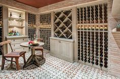 Mediterranean style wine cellar with beautiful lighting and floor [Design: Meridith Baer Home] Floor Design, Tile Design, House Design, Design Moderne, Deco Design, Rustic Table And Chairs, Wine Cellar Design, Newport Coast, Unique Flooring