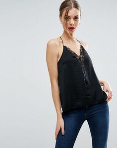 ASOS Plunge Neck Lace Insert Satin Cami Top