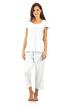 f6c2ae7db66 Casual Nights Womens Lace Cap Sleeve Capri Pajama Set Dot Green 1X      Amazon most trusted e-retailer  SleepShirts