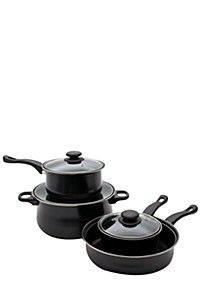 7 Piece carbon steel pot and pan set. This set includes a frying pan and 3 saucepans with pouring lip and lid. Mr Price Home, Pots And Pans Sets, Pan Set, Home Decor Online, Cookware Set, Clear Glass, Steel, Baking, Future House