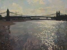 For sale - Luke Martineau Bridge Painting, Tower Bridge, Bridges, Painting & Drawing, Landscapes, Louvre, Clouds, London, Contemporary