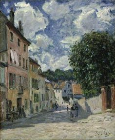 Alfred Sisley, A Street, Possibly in Port-Marly, Oil on canvas, 46.4 x 36.8 cm on ArtStack #alfred-sisley #art