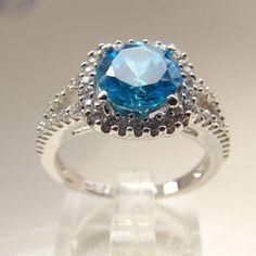 Joyería de plata topacio azul circón anillos de boda.