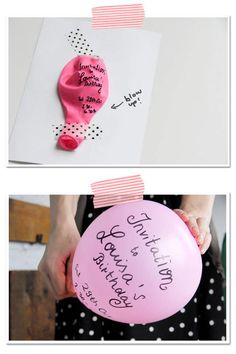 """Blow Up Balloon Invitation! How fun and clever and can be used for so many different types of events.---Could use this for Valentines day classmate cards--""""You blow me away! Balloon Invitation, Party Invitations, Birthday Invitations Kids, Invites, Invitacion Baby Shower Originales, Party Gifts, Diy Gifts, Birthday Celebration, Birthday Parties"""