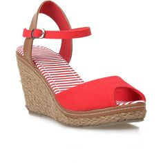 Red & Tan Peep Toe Bypass Espadrille Wedge Sandals ($31) ❤ liked on Polyvore featuring shoes, sandals, wedges, red, platform sandals, wedge heel sandals, tan wedge sandals, peep toe wedge sandals and tan sandals