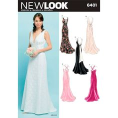 Low Back Dress Pattern New Look 6401 Wedding Gown Train, Plunging Neckline Backless Evening Dress Womens Size 8 to 18 Sewing Pattern UNCUT - Prom Dresses Design New Look Dress Patterns, Wedding Dress Sewing Patterns, Formal Dress Patterns, New Look Dresses, Low Back Dresses, Women's Dresses, Bridal Gowns, Wedding Gowns, Wedding Dress Pictures