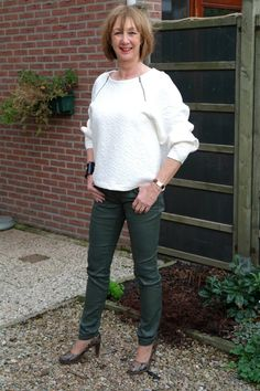 Green coated skinnies (Hugo Boss) and cream sweater (Marc by Marc Jacobs)