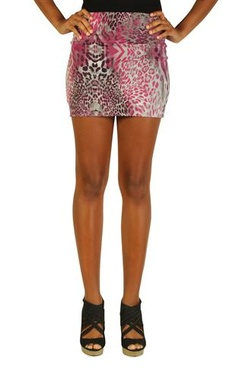 abstract leopard print bodycon skirt