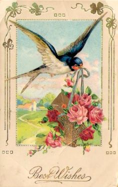 "Flying swallow carrying an envelope and a tiny basket of roses, with the words ""Best Wishes."" Vintage."