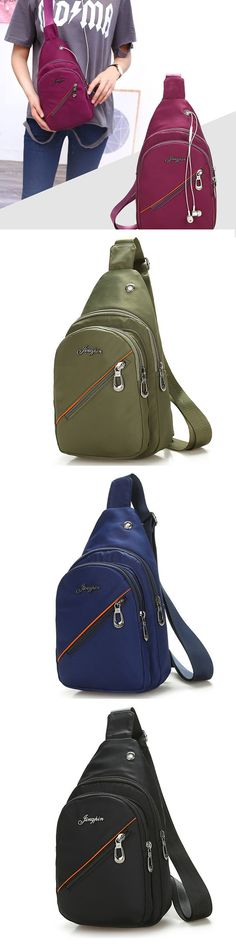 e55d6ed11b US 11.87 Women Nylon With Earphone Hole Chest Bag Casual Crossbody Bag New  Chic