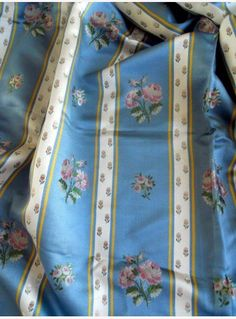 Elegant antique French silk fabric, floral decor, for your pillows