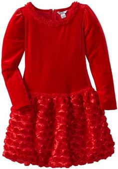 A red dress for little girls, just in time for the Christmas holiday.