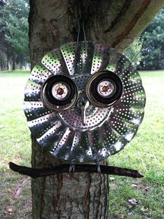 Yard art owl From an old vegetable steamer!