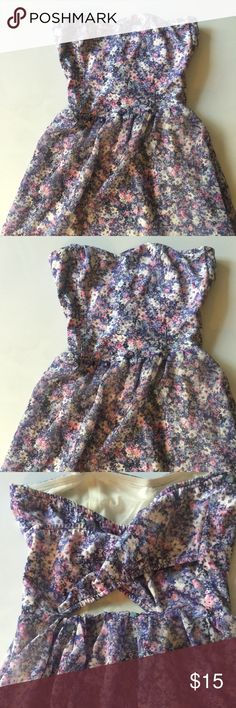 Rayon Flowered Alter Dress Very petite flowered mini dress purchased in Mallorca Spain Size M - probably aligns with 4/6 US sheer blue, purple, pink and white flowers over cream raylon lining. BSK Bershka Dresses Mini