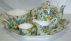 7Pc Royal Winton Grimwades Queen Anne Chintz Porcelain Breakfast Tea Set Teapot