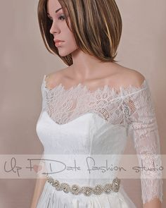 Off-Shoulder  /ivory/ wedding bolero/chantilly by UpToDateFashion