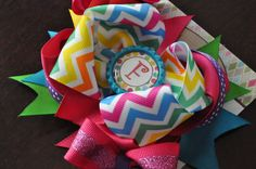 Bright Initial Bottle Cap Bow by threepeasboutique on Etsy, $10.50
