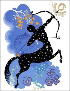 The Zodiac Sagitarius art Deco by Erte