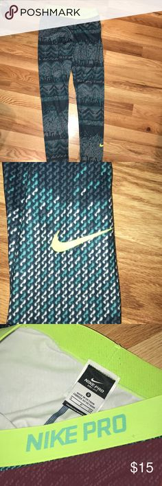 Nike Pro patterned leggings Worn once, blues, teal & white in the design! Nike Pants Leggings