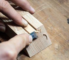 trimming kumiko test piece in jig