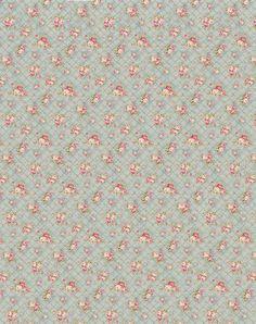 Papier bleu avec petites roses rose pâle