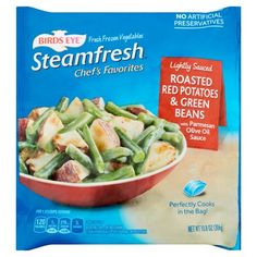Birds Eye Steamfresh Chef's Favorites Lightly Sauced Roasted Red Potatoes & Green Beans with Parmesan Olive Oil Sauce Frozen Potatoes, Frozen Green Beans, Potato Onion, Frozen Vegetables, Frozen Meals, Roasted Potatoes, Side Dishes Easy, The Best, Favorite Recipes