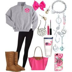 """""""Preppy OOTD . Travelling"""" by kk-wake on Polyvore, ugg boots, longchamp bag"""