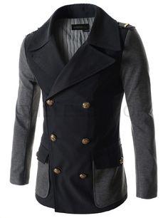 (DMJ05-BLACK) Mens Slim Fit Double Breasted Big Lapel Shoulder Epaulet Patch Jacket