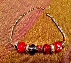 Silver chain beaded bracelet on Etsy, $15.00