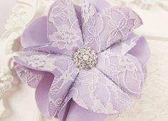 Lilac Bridal Satin, White Lace Fabric Flower, Genuine Crystal Diamante & Pearl Centre, Silky Fabric, Wedding, Bride, Sash, Hair – LBSL0073