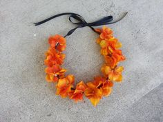 Orange Floral Headband/ Flower Crown. Coachella or by DevineBlooms, $13.00