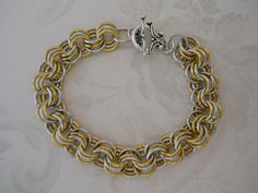 SOLD! Silver & Gold Color Chain Maille Bracelet -- Featured in BeadStyle