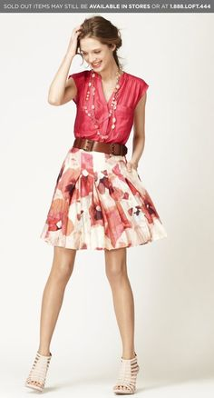Ok, that's it.  I'm going to buy some cute belts so that I'll start wearing my cute skirts again.  Love this outfit!