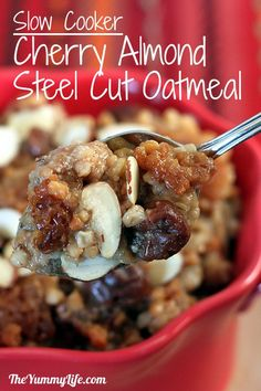 This is what is for breakfast tomorrow!! Overnight, Slow Cooker, Cherry Almond Steel-Cut Oatmeal. Dairy free and vegan. www.theyummylife.com/Slow_Cooker_Cherry_Almond_Oatmeal