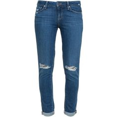 Paige Quinley Distressed Skinny Jeans (510 CAD) ❤ liked on Polyvore featuring jeans, pants, blue, skinny fit jeans, skinny leg jeans, destroyed denim skinny jeans, destructed jeans and ripped blue jeans