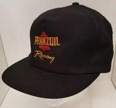 Vintage US PENNZOIL Racing Team Black Trucker Hat Baseball Cap SnapBack USA  Made  BaseballCap Black 670ada6164f0
