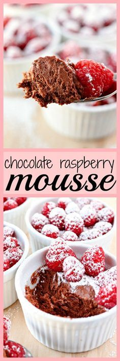 Chocolate Raspberry Mousse- Chocolate raspberry mousse is a super easy treat to put together and will satisfy any sweet tooth. Made with whipped cream, melted dark chocolate, and raspberry puree. Perfect for dinner parties or romantic dinners for two.