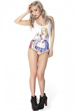Cute Cartoon Alice One Piece Swimwear ($20)