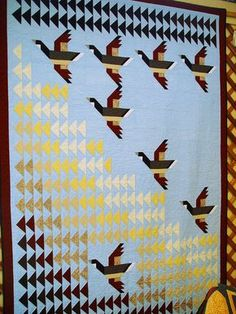 """Flying Home"" quilt in Pam Bono's book (I have this book) Mini Quilts, Strip Quilts, Boy Quilts, Quilting Projects, Quilting Designs, Flying Home, Bird Quilt Blocks, Flying Geese Quilt, Fish Quilt"