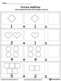 Adding Numbers With Shapes: Learn addition by counting the pictures, this simple yet affective worksheet will help your child develop their beginning math skills.