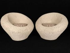 Pair of Vintage Rattan Tub Chairs - Mecox Gardens