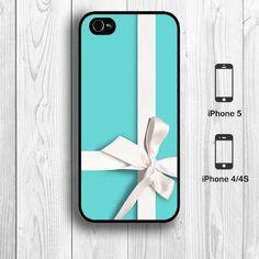 Tiffany Blue gift box iPhone 4 Case, girly elegant iPhone 4S Case whit ribbon iPhone 5 Back Cover --000068
