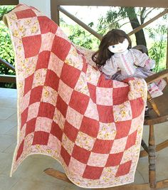 Baby Quilt Quilted Pink Baby Blanket Flannel by RedNeedleQuilts