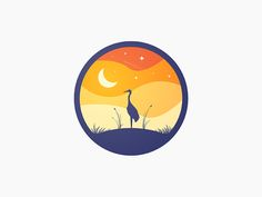 Over 100 creative moon logo designs featuring examples from top graphic designers. Landscape Illustration, Graphic Design Illustration, Illustration Art, Badge Design, Logo Design, Small Canvas Art, Circle Art, Affinity Designer, Guache