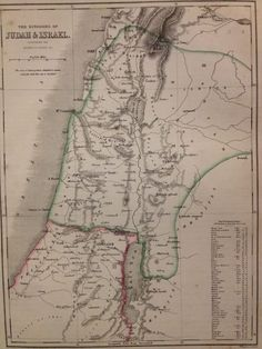 C1852 engraving ancient world map probate settlement descendants of c1850s map engraving the kingdoms of judah israel by w hughes gumiabroncs Images