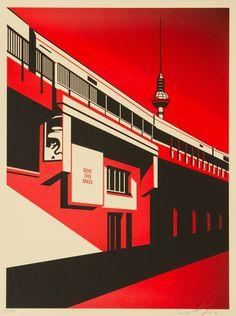 """""""Berlin Tower"""" Art Print by Shepard Fairey (Onsale Info) - OMG Posters! Shepard Fairy, Omg Posters, Shepard Fairey Obey, Obey Art, Hollow Art, Propaganda Art, Galerie D'art En Ligne, Screen Print Poster, Art Graphique"""