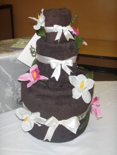 Perfect Bridal Shower or Wedding Gift! Towel Wedding Cake :)