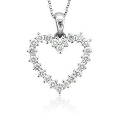 SALE!! 14k White Gold Heart Diamond Pendant Necklace (GH, I1-I2, 0.50 carat) REVIEW