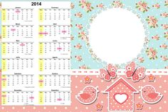 Convite Calendário 2014 Jardim Encantado Vintage Floral: